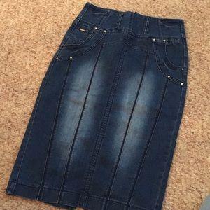 Never Worn High Waist Denim Pencil Skirt